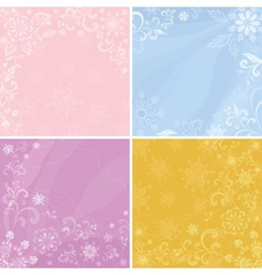 Set abstract floral backgrounds vector image