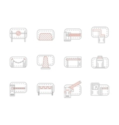 Set of barrier and stopper flat line icons vector image