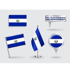 Set of El Salvador pin icon and map pointer flags vector