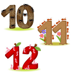 set of numbers with number of animals 10 to 12 vector image