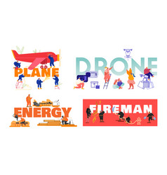 Set posters with people plane maintenance vector