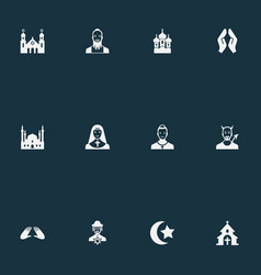 set simple faith icons vector image