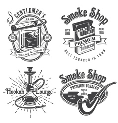 Set vintage tobacco smoking emblems vector