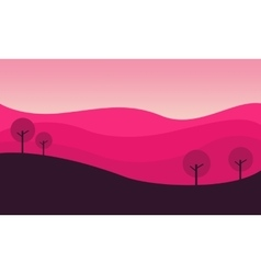 Silhouette of hill with pink backgrounds vector