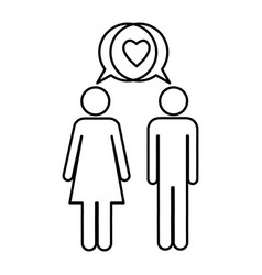 Silhouette pictogram male and female with bubble vector