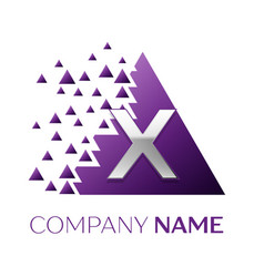 Silver letter x logo in the purple pixel triangle vector