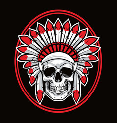 skull indian native american warrior red vector image