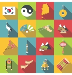 South Korea travel icons set flat style vector image