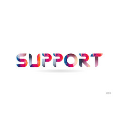 support colored rainbow word text suitable for vector image