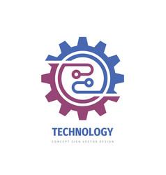 Technology gear concept business logo template vector