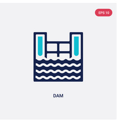 Two color dam icon from ecology concept isolated vector