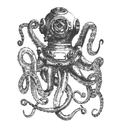 Vintage style diver helmet with octopus tentacles vector