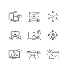 Webinar and communication linear icons vector