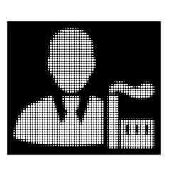 White halftone industry capitalist icon vector
