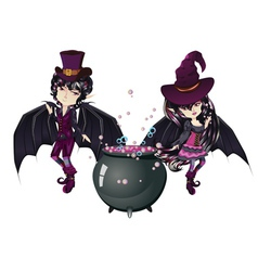 Witch and Vampire vector image