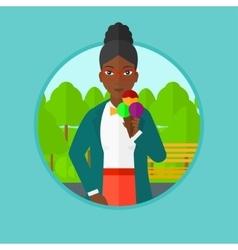 Woman eating ice cream vector image