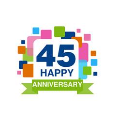 45th anniversary colored logo design happy vector image vector image
