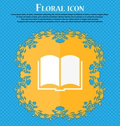 Book icon Floral flat design on a blue abstract vector image vector image