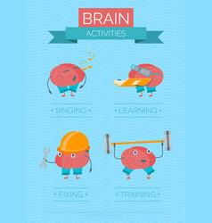 Cartoon brain activities poster vector