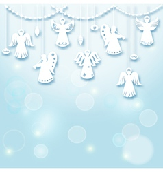 Christmas Background - Angels vector image
