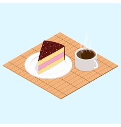 Coffee with piece of cake vector image
