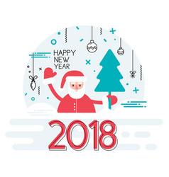 happy new year 2018 year with ribbon and santa vector image vector image