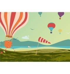 Landscape with hot air balloons vector image vector image