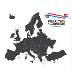 map of europe with the state of luxembourg vector image