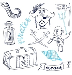 Pirate set with cute parrot Hand drawn cartoon vector image vector image