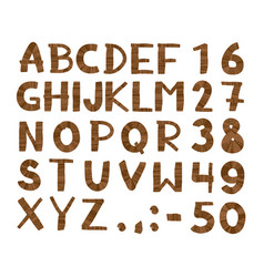 wood tree texture font alphabet vector image