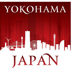 yokohama japan city skyline silhouette red vector image vector image