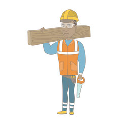 african carpenter holding saw and wooden board vector image