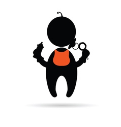 baby holding a bottle silhouette vector image vector image