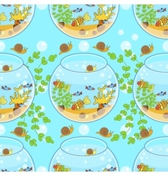 Fishbowl pattern with fish snail and decorations vector