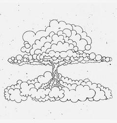 nuclear explosion sketch cartoon vector image vector image