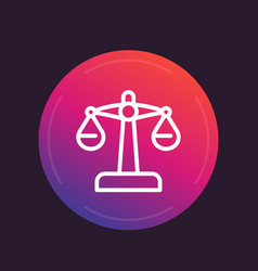 scales icon linear style risk concept vector image