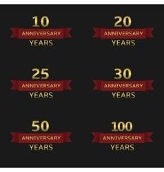 Anniversary label set vector image vector image