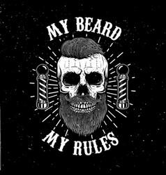 barbershop emblem template hipster skull with vector image