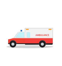 Colored emergency ambulance with siren flat design vector