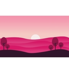 Silhouette of hill and sun landscape vector image