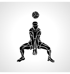 Volleyball player silhouette vector image vector image