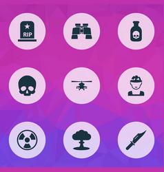 warfare icons set collection of cranium atom vector image vector image
