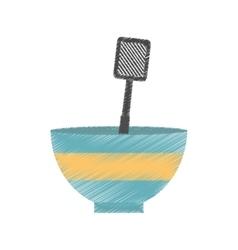 Drawing bowl spatula grill utensil kitchen vector