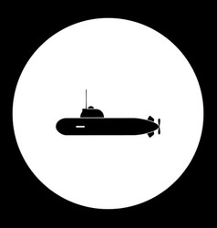 one military submarine simple black icon eps10 vector image