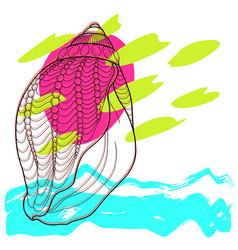 stylized sea seashell abstract modern art vector image vector image