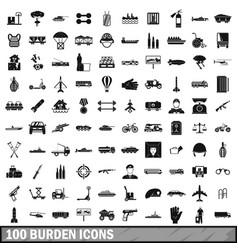 100 burden icons set simple style vector