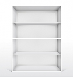 3d isolated empty white bookshelf vector image