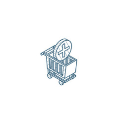 Add to shopping cart isometric icon 3d line art vector