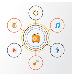 Audio flat icons set collection of button tone vector