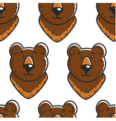Bear russian symbol seamless pattern forest animal vector